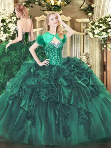 Fitting Organza Sweetheart Sleeveless Lace Up Beading and Ruffles Quince Ball Gowns in Dark Green