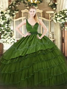 Floor Length Ball Gowns Sleeveless Dark Green Vestidos de Quinceanera Zipper