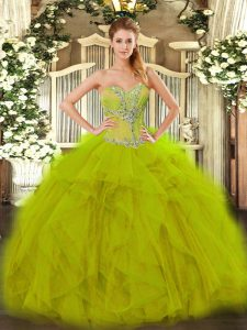 New Arrival Floor Length Ball Gowns Sleeveless Olive Green Quince Ball Gowns Lace Up