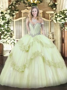 Sweetheart Sleeveless Lace Up Quinceanera Gowns Yellow Green Tulle