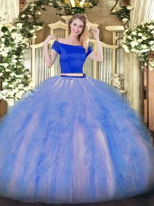 Custom Fit Off The Shoulder Short Sleeves Sweet 16 Quinceanera Dress Floor Length Appliques and Ruffles Blue And White Tulle