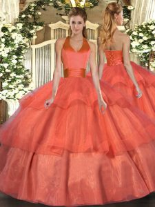 Sumptuous Orange Red Lace Up Quinceanera Gowns Ruffled Layers Sleeveless Floor Length