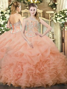 Peach Sweetheart Lace Up Beading and Ruffles and Pick Ups 15 Quinceanera Dress Sleeveless