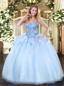Floor Length Lace Up Quinceanera Dress Light Blue for Sweet 16 and Quinceanera with Appliques