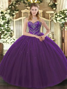High End Dark Purple Sleeveless Floor Length Beading Lace Up Vestidos de Quinceanera