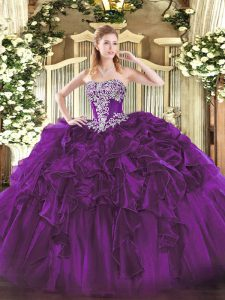 Customized Dark Purple Strapless Lace Up Beading and Ruffles 15th Birthday Dress Sleeveless