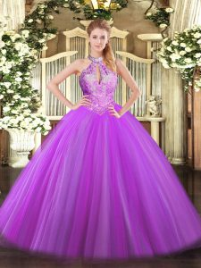 Purple Ball Gowns Halter Top Sleeveless Tulle Floor Length Lace Up Sequins Quinceanera Dress