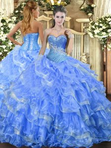 Baby Blue Sleeveless Floor Length Beading and Ruffled Layers Lace Up Quinceanera Gown