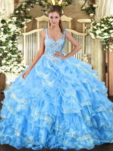 Baby Blue Lace Up Quinceanera Dress Beading and Ruffled Layers Sleeveless Floor Length
