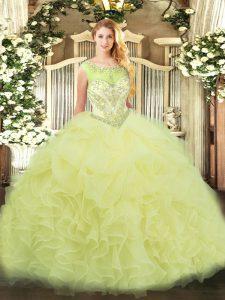 Yellow Sleeveless Floor Length Beading and Ruffles Zipper Sweet 16 Dress