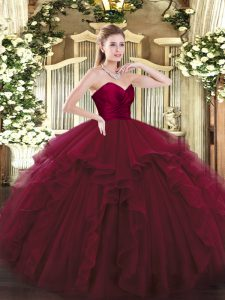 Cute Wine Red Sweet 16 Dress Military Ball and Sweet 16 and Quinceanera with Ruffles Sweetheart Sleeveless Lace Up