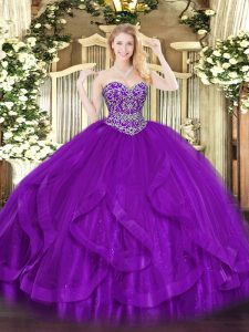 Colorful Eggplant Purple Ball Gowns Sweetheart Sleeveless Tulle Floor Length Lace Up Ruffles Vestidos de Quinceanera