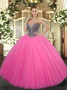 Edgy Sleeveless Tulle Floor Length Lace Up Sweet 16 Quinceanera Dress in Hot Pink with Beading