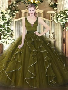 Olive Green Sleeveless Tulle Zipper 15 Quinceanera Dress for Military Ball and Sweet 16 and Quinceanera