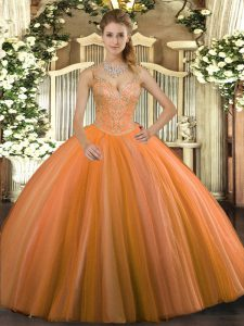 Beauteous Floor Length Lace Up 15th Birthday Dress Orange Red for Military Ball and Sweet 16 and Quinceanera with Beading