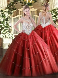 Sleeveless Floor Length Beading and Appliques Zipper Quince Ball Gowns with Red
