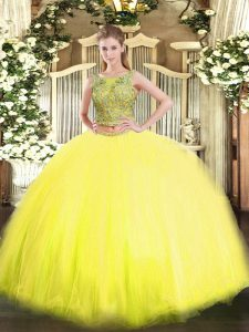 Chic Yellow Two Pieces Beading Quinceanera Gown Lace Up Tulle Sleeveless Floor Length