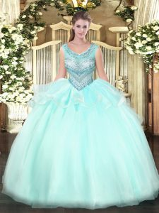 Floor Length Ball Gowns Sleeveless Aqua Blue Sweet 16 Dress Lace Up