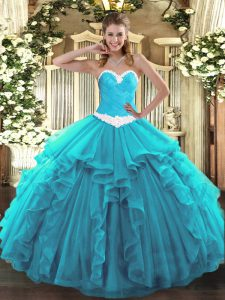 Aqua Blue Sweetheart Neckline Appliques and Ruffles Quince Ball Gowns Sleeveless Lace Up