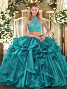 Low Price Halter Top Sleeveless Quinceanera Gowns Asymmetrical Beading and Ruffled Layers Turquoise Organza