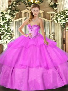 New Style Sleeveless Beading and Ruffled Layers Lace Up Quinceanera Dresses