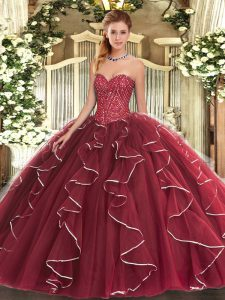 Burgundy Ball Gowns Sweetheart Sleeveless Tulle Floor Length Lace Up Beading and Ruffles Sweet 16 Dresses