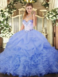 Best Selling Sweetheart Sleeveless Lace Up Sweet 16 Dresses Lavender Organza