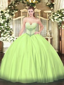 Yellow Green Ball Gowns Beading Sweet 16 Quinceanera Dress Lace Up Satin Sleeveless Floor Length