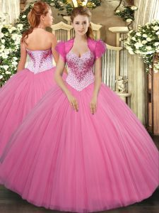 Rose Pink Tulle Lace Up Sweetheart Sleeveless Floor Length Quinceanera Gown Beading