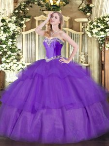 Unique Lavender Lace Up Quinceanera Gowns Beading and Ruffled Layers Sleeveless Floor Length