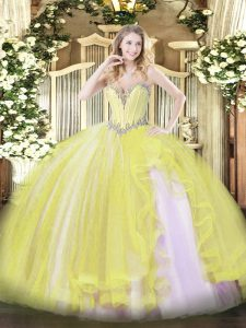 Trendy Yellow Lace Up 15 Quinceanera Dress Beading and Ruffles Sleeveless Floor Length