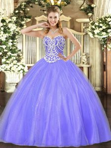 Beading Quinceanera Gowns Lavender Lace Up Sleeveless Floor Length