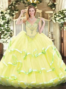 Free and Easy Floor Length Yellow 15th Birthday Dress V-neck Sleeveless Lace Up