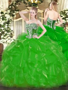 Strapless Sleeveless Organza Quinceanera Dress Beading and Ruffles Lace Up