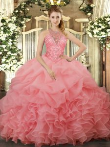 Beautiful Watermelon Red Ball Gowns Halter Top Sleeveless Organza Floor Length Lace Up Beading and Ruffles and Pick Ups Quince Ball Gowns