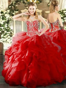 Low Price Ball Gowns Quinceanera Dress Red Sweetheart Organza Sleeveless Floor Length Lace Up