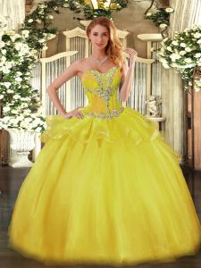 Great Gold Ball Gowns Sweetheart Sleeveless Tulle Floor Length Lace Up Beading Quinceanera Gowns