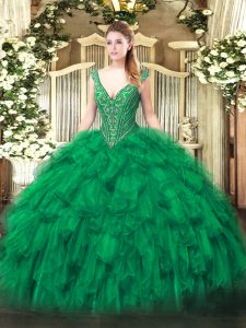 Ball Gowns Sweet 16 Quinceanera Dress Green V-neck Organza Sleeveless Floor Length Lace Up