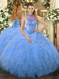 Fine Sleeveless Lace Up Floor Length Beading and Ruffles 15th Birthday Dress