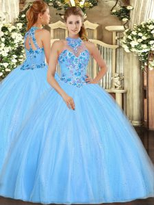 High Class Embroidery Quinceanera Gowns Baby Blue Lace Up Sleeveless Floor Length