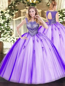 Dazzling Tulle Sleeveless Floor Length Quinceanera Dress and Beading