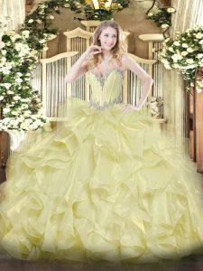 Yellow Lace Up Sweetheart Beading and Ruffles 15th Birthday Dress Organza Sleeveless