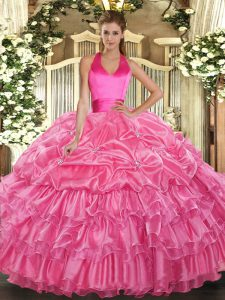 Gorgeous Rose Pink Ball Gowns Organza Halter Top Sleeveless Ruffled Layers and Pick Ups Floor Length Lace Up Sweet 16 Dress