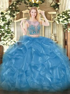 Custom Fit Organza Scoop Sleeveless Lace Up Beading and Ruffles 15 Quinceanera Dress in Baby Blue