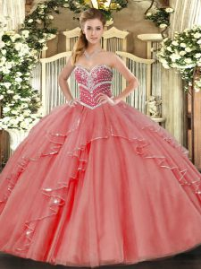 Eye-catching Floor Length Coral Red Quince Ball Gowns Tulle Sleeveless Beading and Ruffles