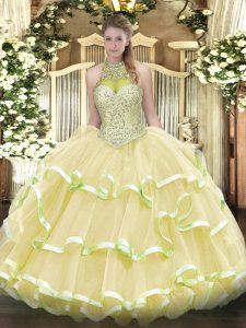 Top Selling Light Yellow Ball Gowns Beading and Ruffled Layers Quinceanera Gowns Lace Up Organza and Tulle Sleeveless Floor Length