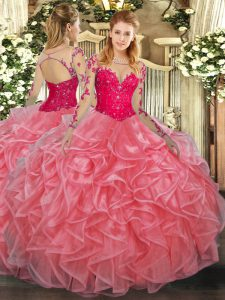 Dazzling Long Sleeves Lace Up Floor Length Lace and Ruffles Quinceanera Dress