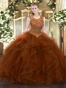Pretty Brown Ball Gowns Beading and Ruffles Sweet 16 Quinceanera Dress Zipper Tulle Sleeveless Floor Length