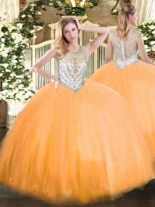 Orange Red Ball Gowns Tulle Scoop Sleeveless Beading Floor Length Zipper 15th Birthday Dress
