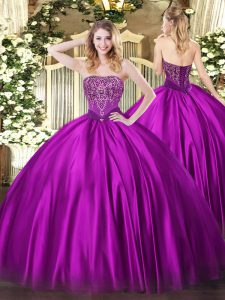 Fuchsia Lace Up Vestidos de Quinceanera Beading Sleeveless Floor Length